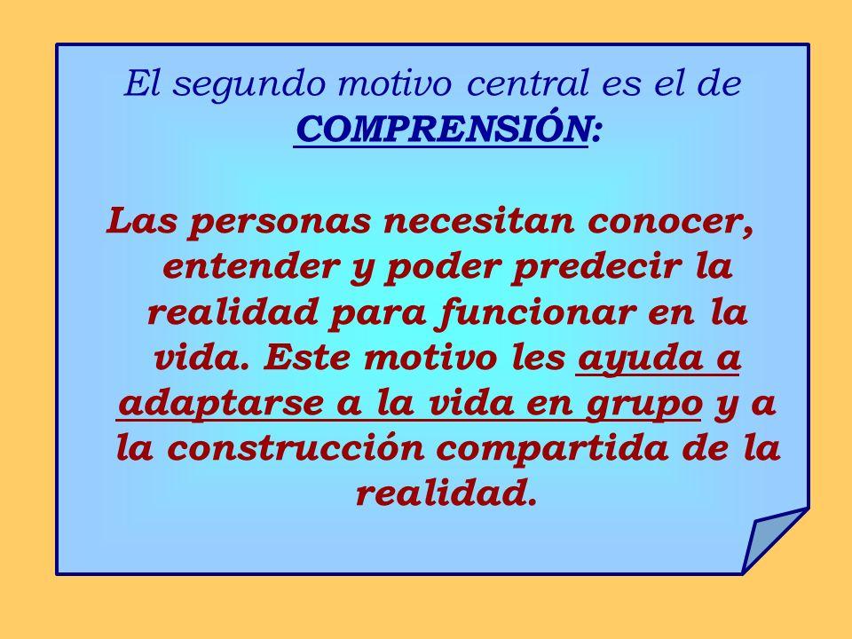 El segundo motivo central es el de COMPRENSIÓN: Las personas necesitan conocer, entender y poder predecir la realidad para funcionar en la vida. Este