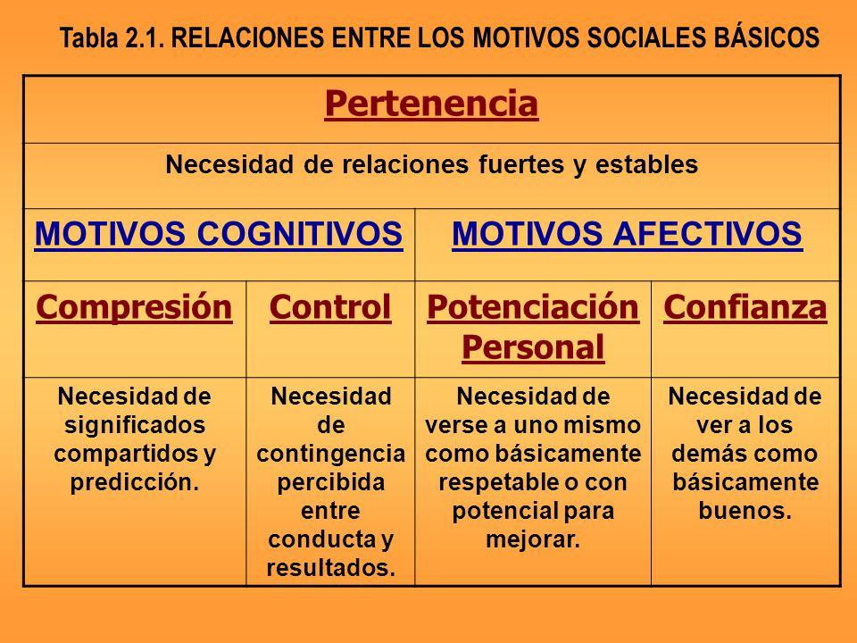 Pertenencia Necesidad de relaciones fuertes y estables MOTIVOS COGNITIVOSMOTIVOS AFECTIVOS CompresiónControlPotenciación Personal Confianza Necesidad de significados compartidos y predicción.