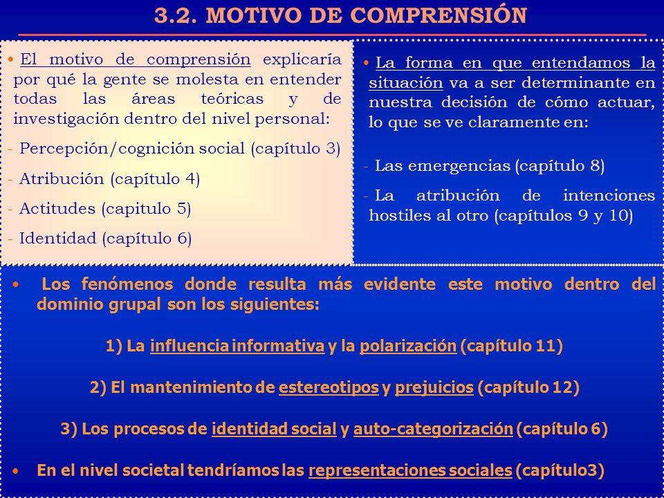 3.2. MOTIVO DE COMPRENSIÓN El motivo de comprensión explicaría por qué la gente se molesta en entender todas las áreas teóricas y de investigación den