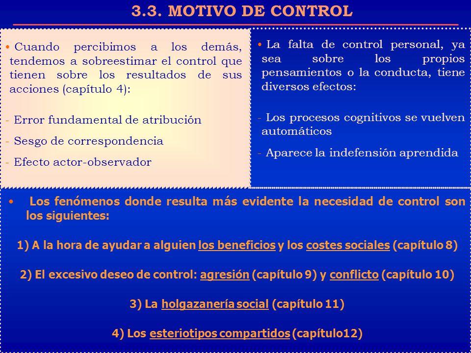 3.3. MOTIVO DE CONTROL Cuando percibimos a los demás, tendemos a sobreestimar el control que tienen sobre los resultados de sus acciones (capítulo 4):
