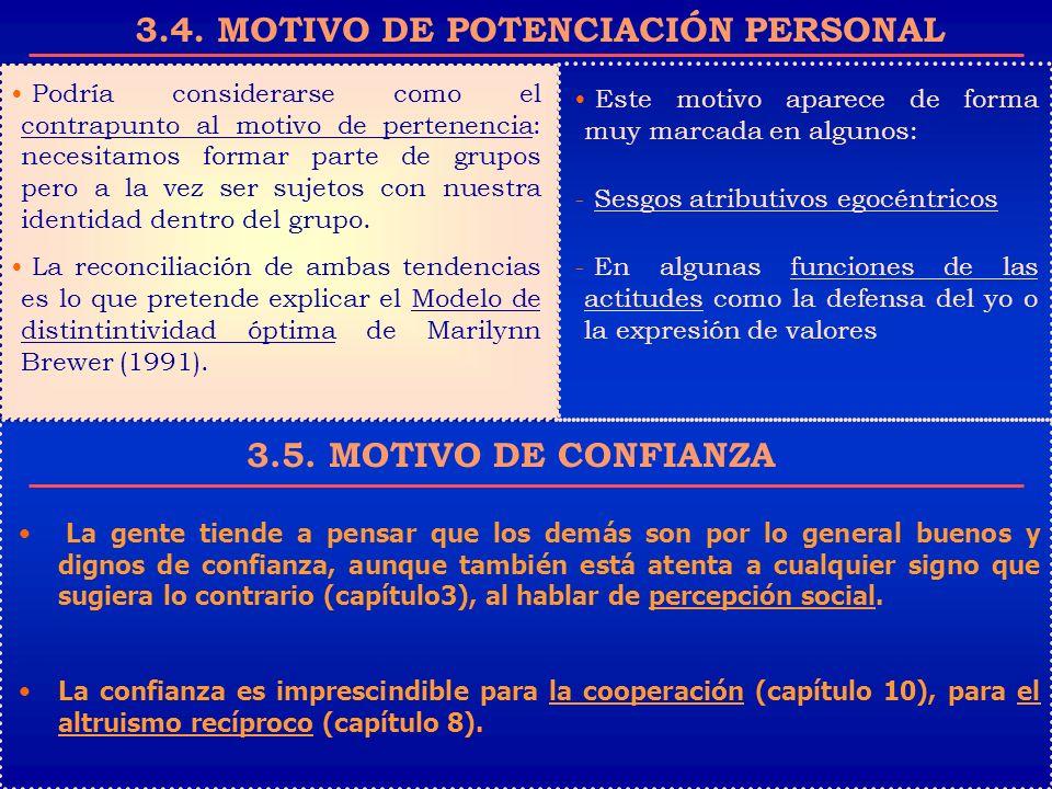 3.4. MOTIVO DE POTENCIACIÓN PERSONAL Podría considerarse como el contrapunto al motivo de pertenencia: necesitamos formar parte de grupos pero a la ve