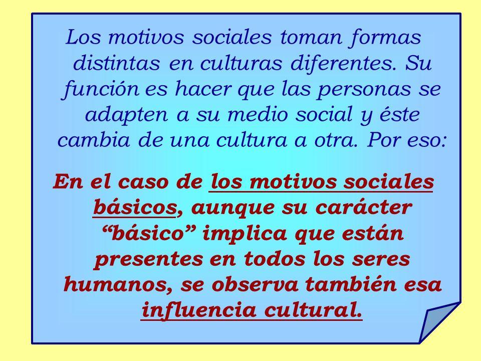 Los motivos sociales toman formas distintas en culturas diferentes. Su función es hacer que las personas se adapten a su medio social y éste cambia de