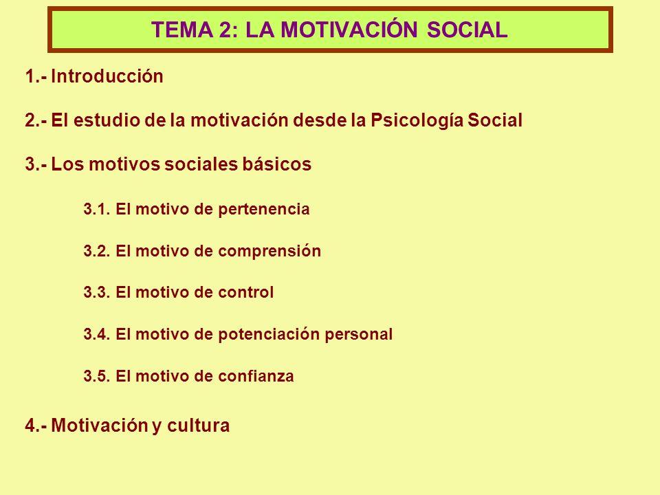 1.- Introducción 2.- El estudio de la motivación desde la Psicología Social 3.- Los motivos sociales básicos 3.1. El motivo de pertenencia 3.2. El mot