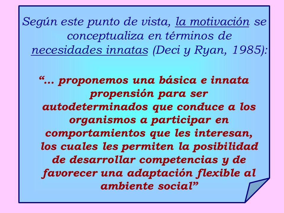 Según este punto de vista, la motivación se conceptualiza en términos de necesidades innatas (Deci y Ryan, 1985): … proponemos una básica e innata pro
