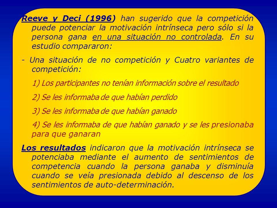 Reeve y Deci (1996) han sugerido que la competición puede potenciar la motivación intrínseca pero sólo si la persona gana en una situación no controlada.