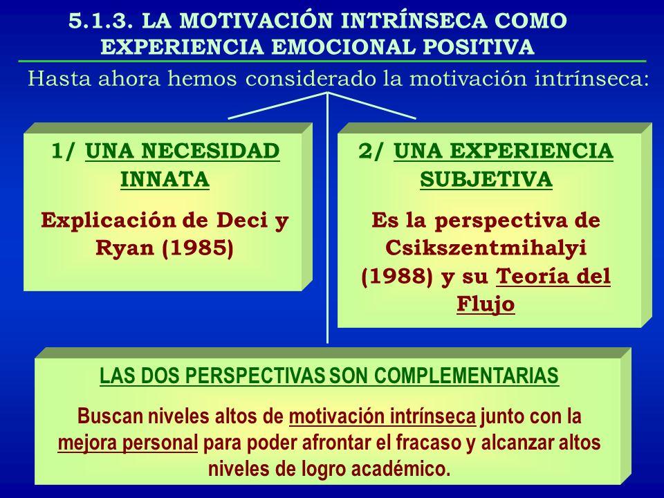 5.1.3. LA MOTIVACIÓN INTRÍNSECA COMO EXPERIENCIA EMOCIONAL POSITIVA Hasta ahora hemos considerado la motivación intrínseca: 1/ UNA NECESIDAD INNATA Ex