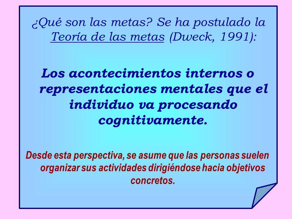 ¿Qué son las metas? Se ha postulado la Teoría de las metas (Dweck, 1991): Los acontecimientos internos o representaciones mentales que el individuo va