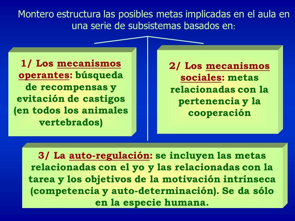 Montero estructura las posibles metas implicadas en el aula en una serie de subsistemas basados en : 1/ Los mecanismos operantes: búsqueda de recompensas y evitación de castigos (en todos los animales vertebrados) 2/ Los mecanismos sociales: metas relacionadas con la pertenencia y la cooperación 3/ La auto-regulación: se incluyen las metas relacionadas con el yo y las relacionadas con la tarea y los objetivos de la motivación intrínseca (competencia y auto-determinación).