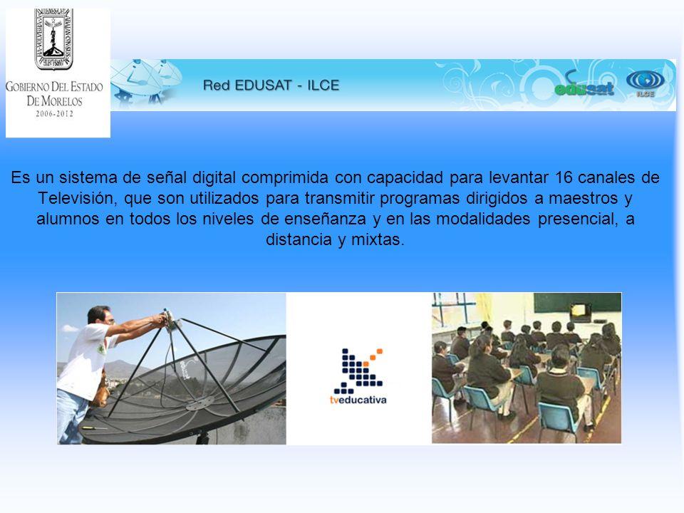 Es un sistema de señal digital comprimida con capacidad para levantar 16 canales de Televisión, que son utilizados para transmitir programas dirigidos a maestros y alumnos en todos los niveles de enseñanza y en las modalidades presencial, a distancia y mixtas.