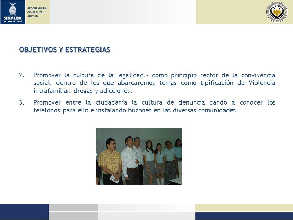 OBJETIVOS Y ESTRATEGIAS 2.Promover la cultura de la legalidad.- como principio rector de la convivencia social, dentro de los que abarcaremos temas co