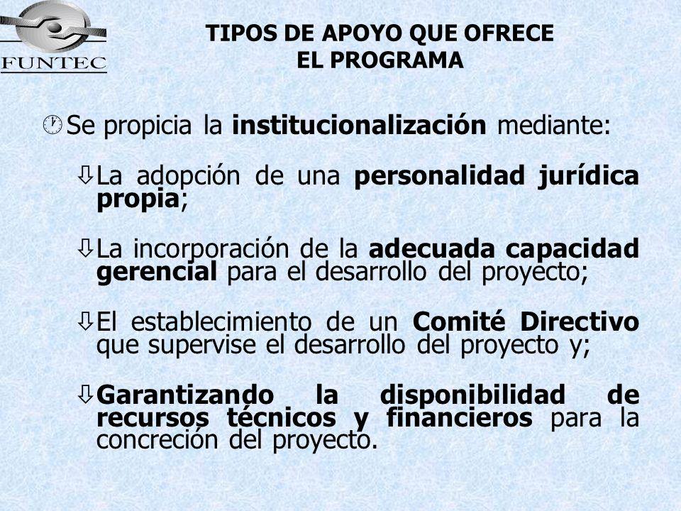 TIPOS DE APOYO QUE OFRECE EL PROGRAMA ·Se propicia la institucionalización mediante: òLa adopción de una personalidad jurídica propia; òLa incorporaci