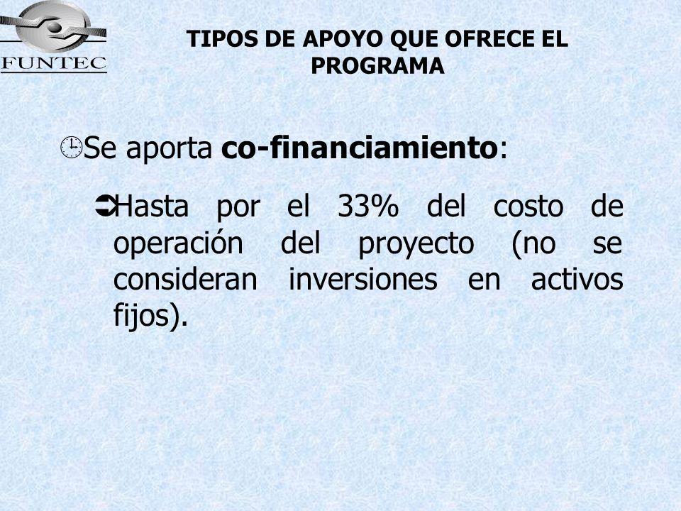 TIPOS DE APOYO QUE OFRECE EL PROGRAMA ¹Se aporta co-financiamiento: Hasta por el 33% del costo de operación del proyecto (no se consideran inversiones