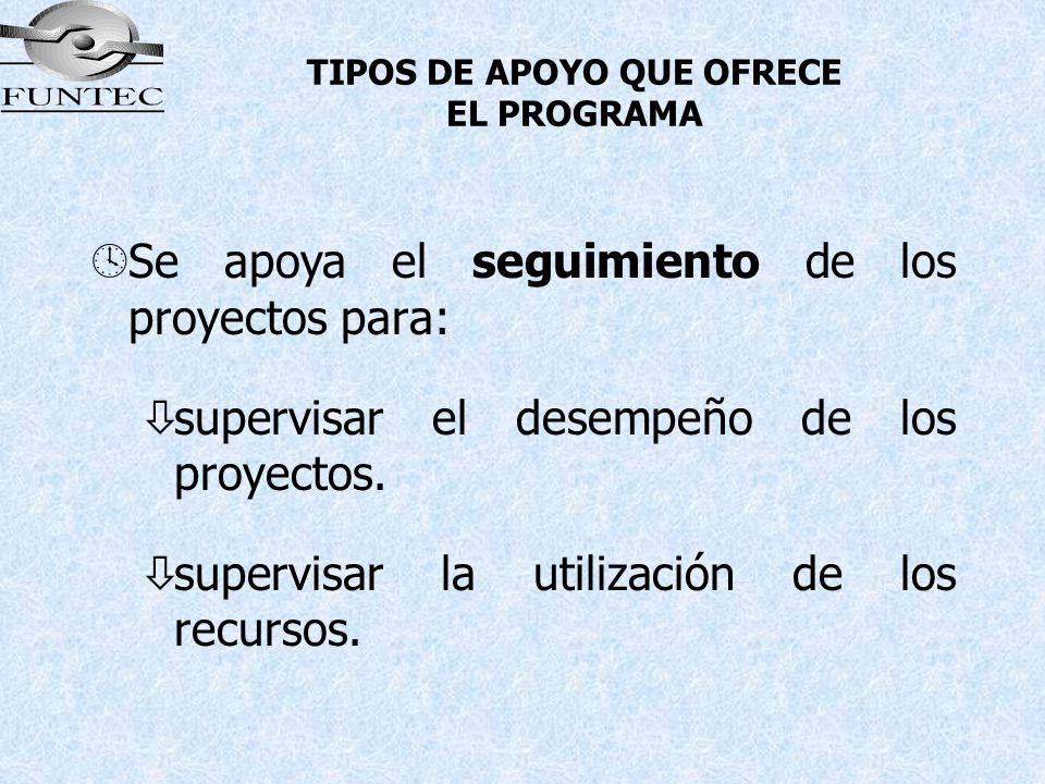 TIPOS DE APOYO QUE OFRECE EL PROGRAMA ºSe apoya el seguimiento de los proyectos para: òsupervisar el desempeño de los proyectos. òsupervisar la utiliz