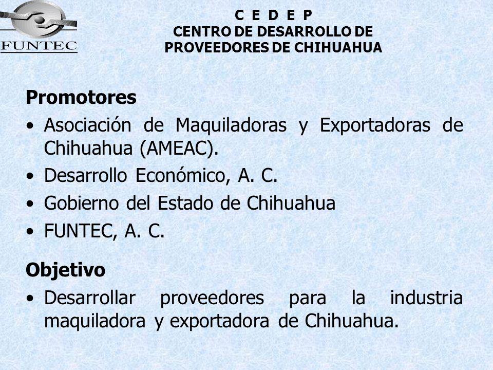 C E D E P CENTRO DE DESARROLLO DE PROVEEDORES DE CHIHUAHUA Promotores Asociación de Maquiladoras y Exportadoras de Chihuahua (AMEAC). Desarrollo Econó