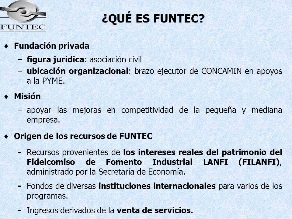 Fundación privada –figura jurídica: asociación civil –ubicación organizacional: brazo ejecutor de CONCAMIN en apoyos a la PYME. Misión –apoyar las mej