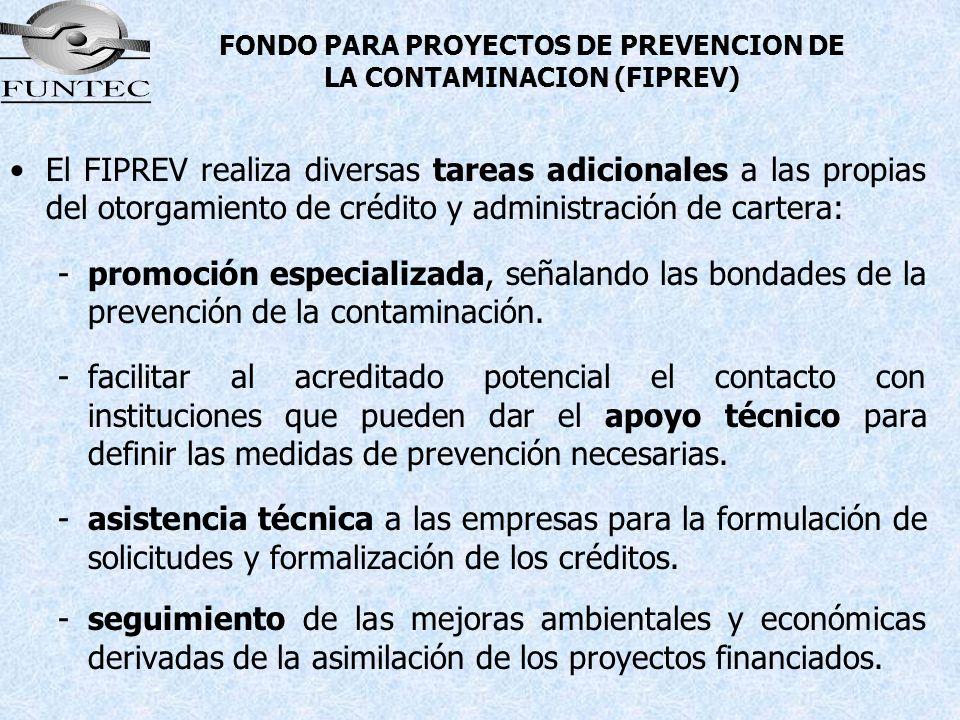 FONDO PARA PROYECTOS DE PREVENCION DE LA CONTAMINACION (FIPREV) El FIPREV realiza diversas tareas adicionales a las propias del otorgamiento de crédit