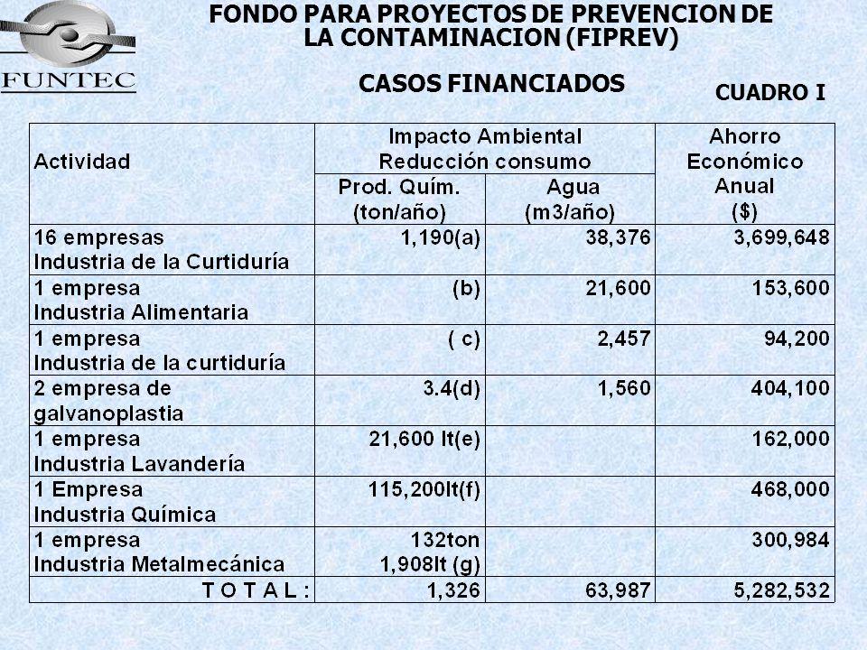 FONDO PARA PROYECTOS DE PREVENCION DE LA CONTAMINACION (FIPREV) CASOS FINANCIADOS CUADRO I