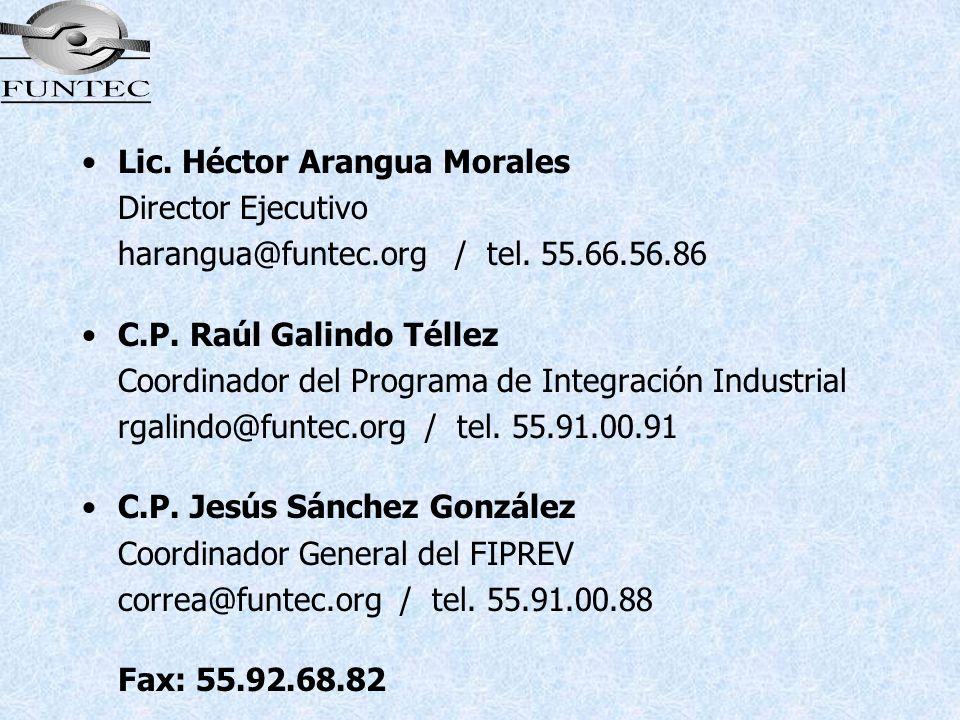 Lic. Héctor Arangua Morales Director Ejecutivo harangua@funtec.org / tel. 55.66.56.86 C.P. Raúl Galindo Téllez Coordinador del Programa de Integración