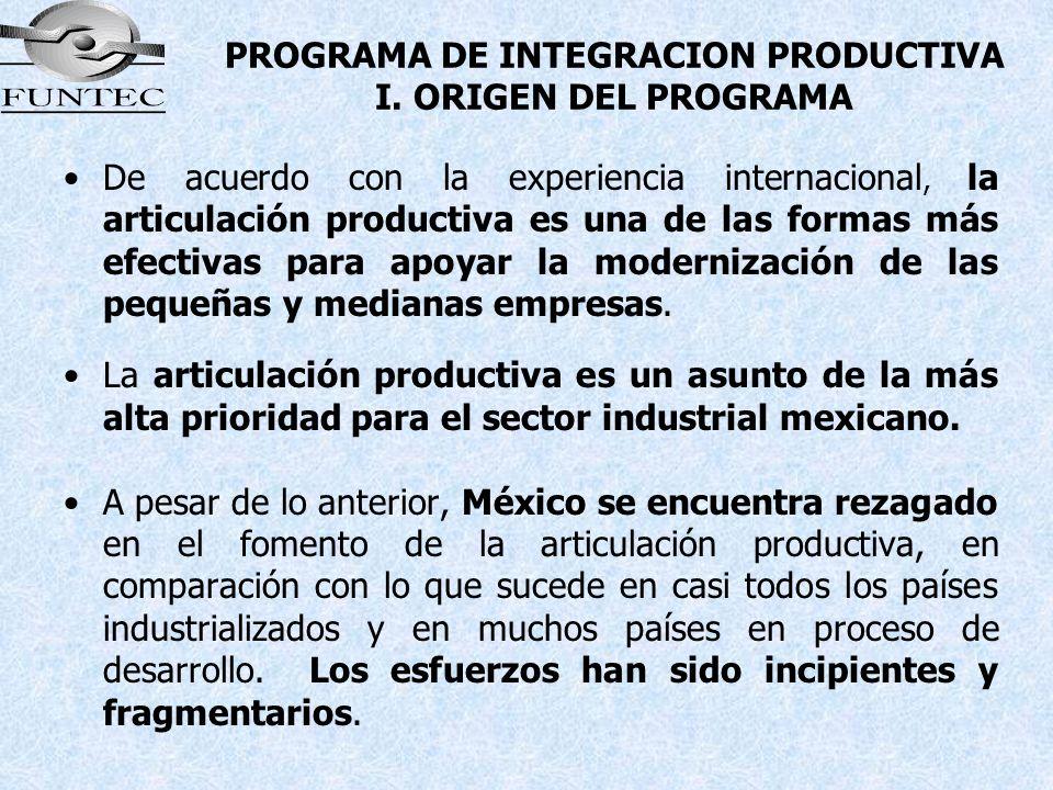 PROGRAMA DE INTEGRACION PRODUCTIVA I. ORIGEN DEL PROGRAMA De acuerdo con la experiencia internacional, la articulación productiva es una de las formas