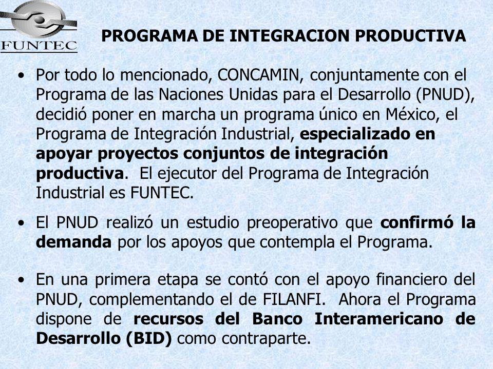 PROGRAMA DE INTEGRACION PRODUCTIVA Por todo lo mencionado, CONCAMIN, conjuntamente con el Programa de las Naciones Unidas para el Desarrollo (PNUD), d