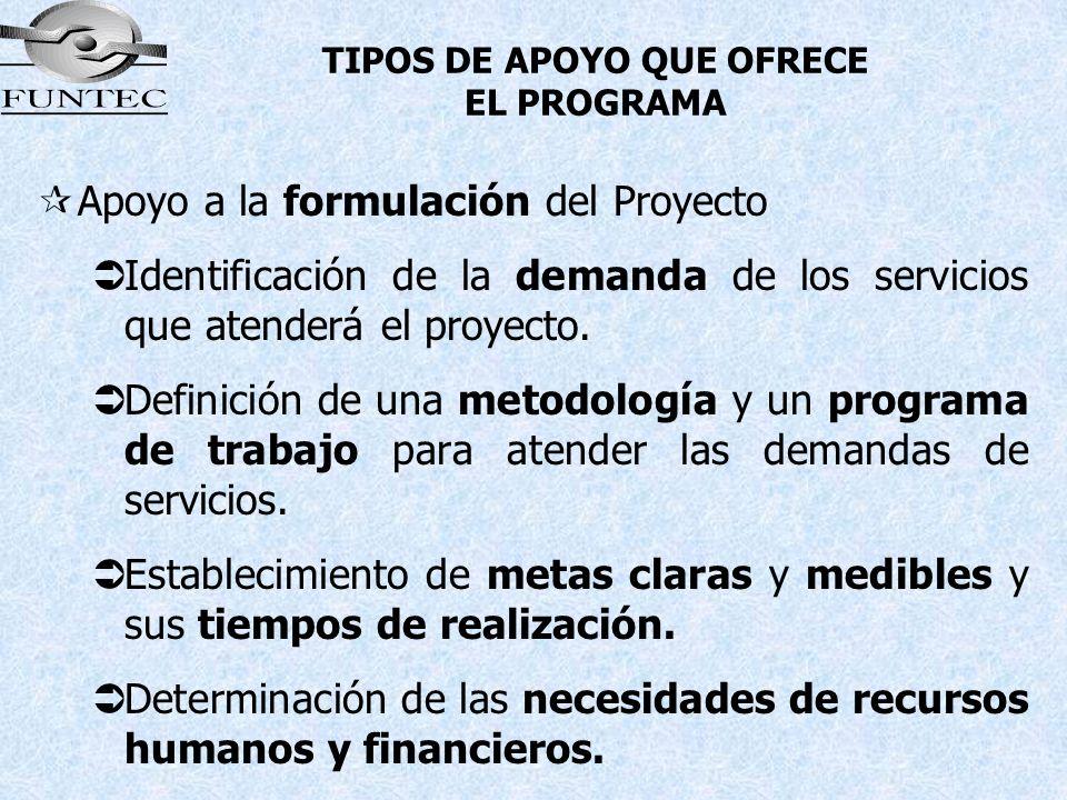 TIPOS DE APOYO QUE OFRECE EL PROGRAMA ¶Apoyo a la formulación del Proyecto Identificación de la demanda de los servicios que atenderá el proyecto. Def