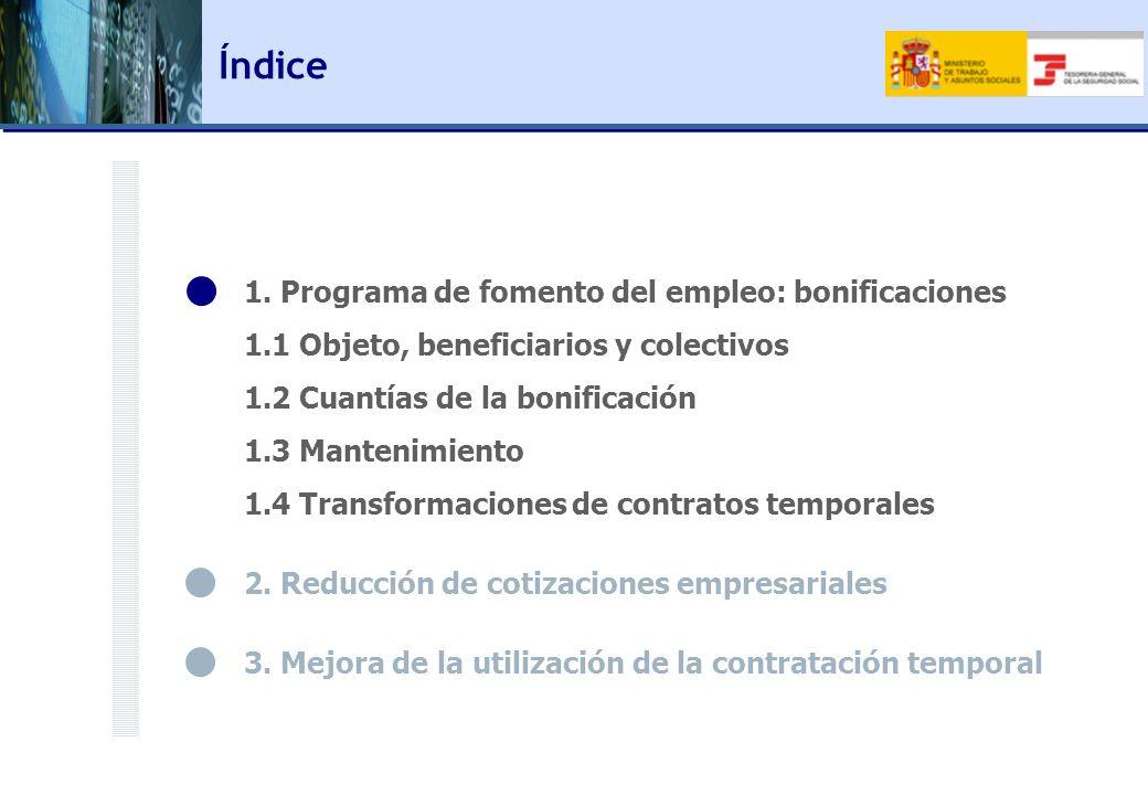 1. Programa de fomento del empleo: bonificaciones 1.1 Objeto, beneficiarios y colectivos 1.2 Cuantías de la bonificación 1.3 Mantenimiento 1.4 Transfo