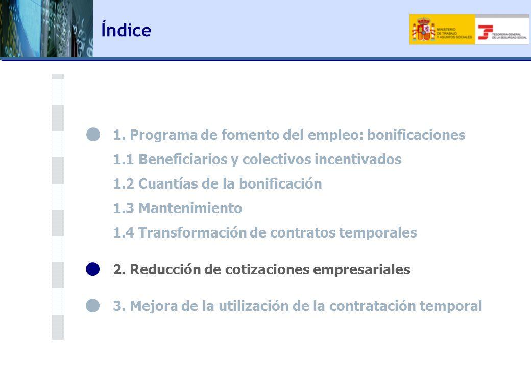 1. Programa de fomento del empleo: bonificaciones 1.1 Beneficiarios y colectivos incentivados 1.2 Cuantías de la bonificación 1.3 Mantenimiento 1.4 Tr