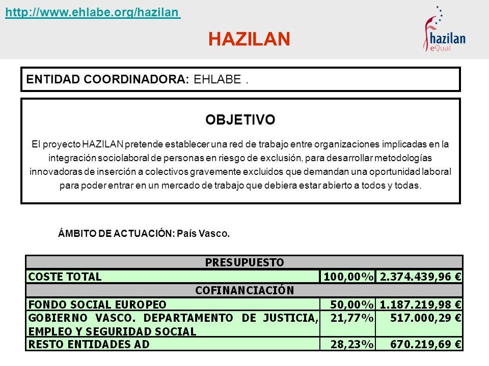 HAZILAN ENTIDAD COORDINADORA: EHLABE. OBJETIVO El proyecto HAZILAN pretende establecer una red de trabajo entre organizaciones implicadas en la integr