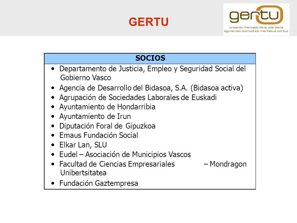 GERTU SOCIOS Departamento de Justicia, Empleo y Seguridad Social del Gobierno Vasco Agencia de Desarrollo del Bidasoa, S.A. (Bidasoa activa) Agrupació