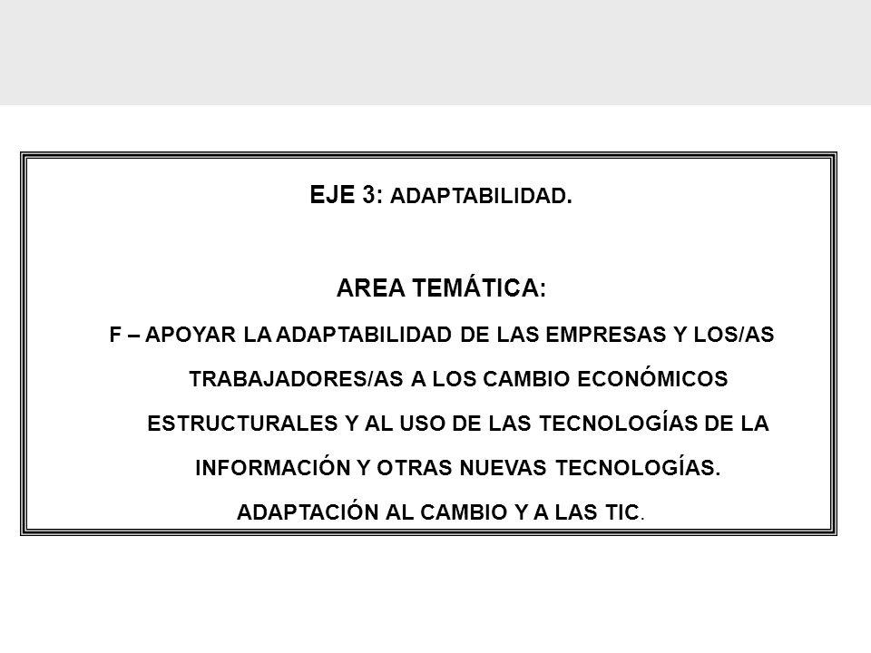 EJE 3: ADAPTABILIDAD. AREA TEMÁTICA: F – APOYAR LA ADAPTABILIDAD DE LAS EMPRESAS Y LOS/AS TRABAJADORES/AS A LOS CAMBIO ECONÓMICOS ESTRUCTURALES Y AL U