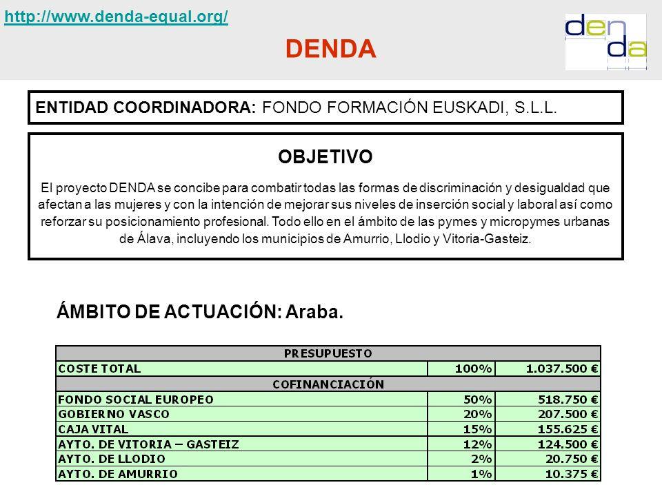 DENDA ENTIDAD COORDINADORA: FONDO FORMACIÓN EUSKADI, S.L.L. OBJETIVO El proyecto DENDA se concibe para combatir todas las formas de discriminación y d