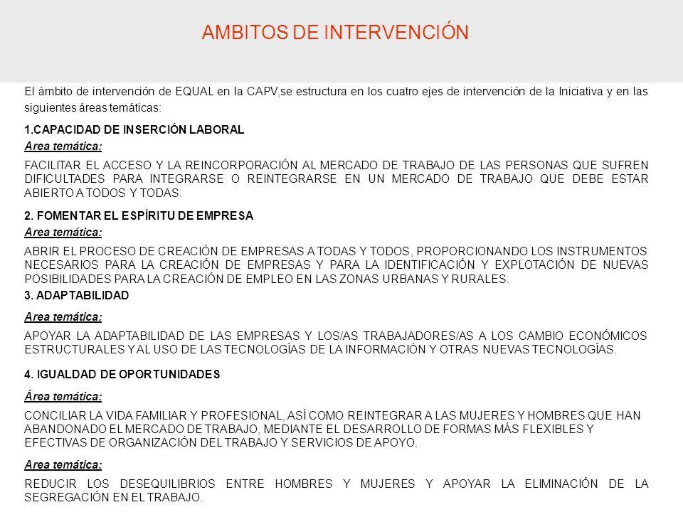 El ámbito de intervención de EQUAL en la CAPV,se estructura en los cuatro ejes de intervención de la Iniciativa y en las siguientes áreas temáticas: 1