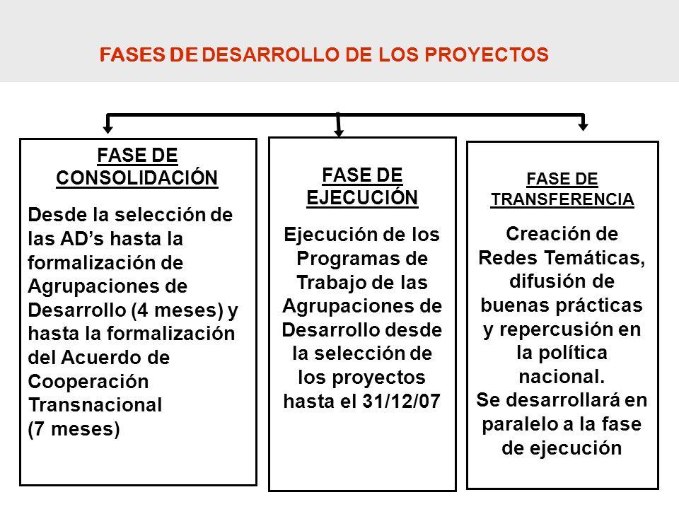 FASE DE CONSOLIDACIÓN Desde la selección de las ADs hasta la formalización de Agrupaciones de Desarrollo (4 meses) y hasta la formalización del Acuerd