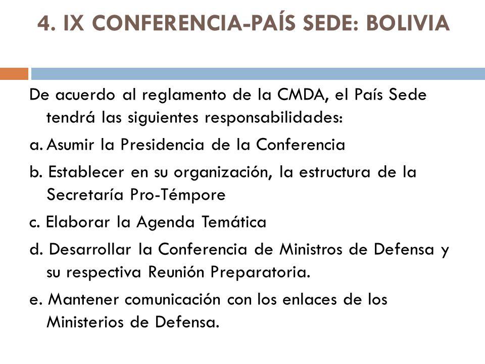 4. IX CONFERENCIA-PAÍS SEDE: BOLIVIA De acuerdo al reglamento de la CMDA, el País Sede tendrá las siguientes responsabilidades: a.Asumir la Presidenci