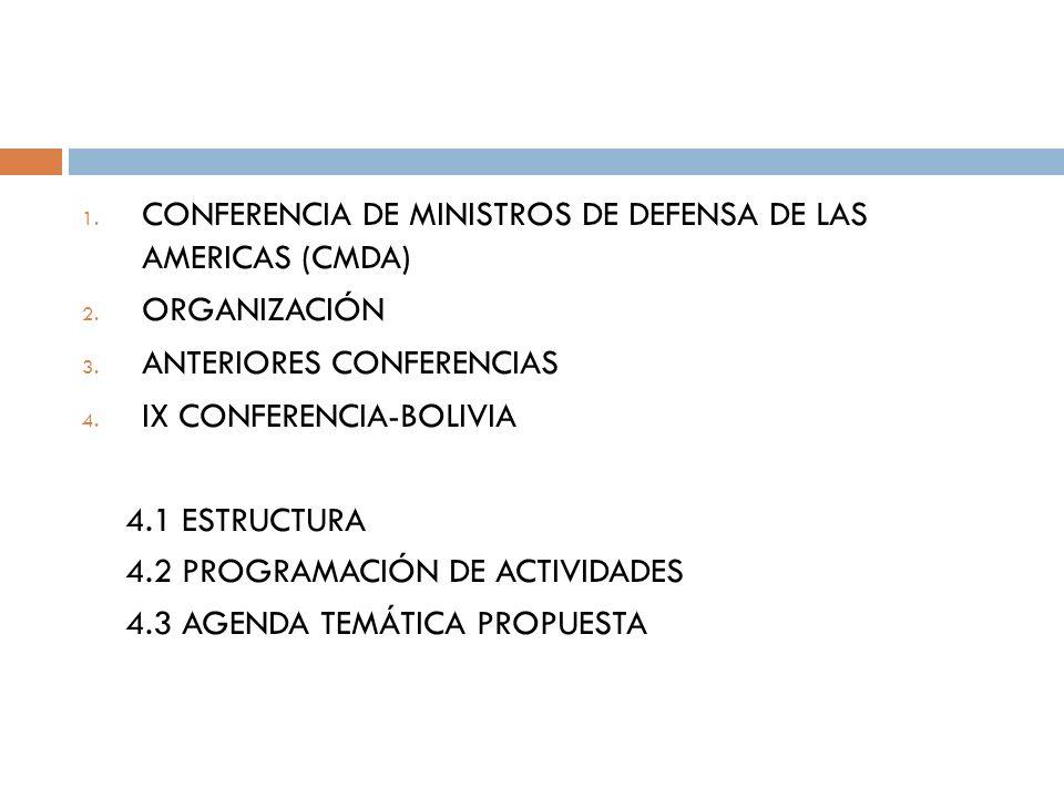 1. CONFERENCIA DE MINISTROS DE DEFENSA DE LAS AMERICAS (CMDA) 2.