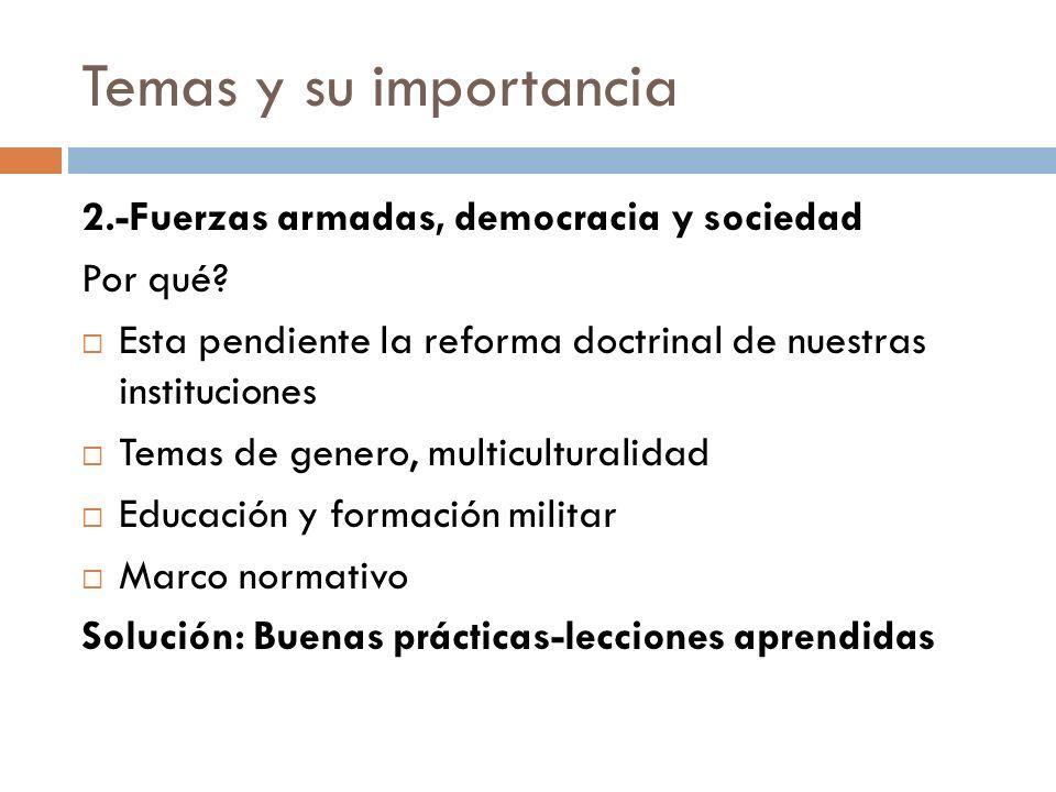 Temas y su importancia 2.-Fuerzas armadas, democracia y sociedad Por qué.