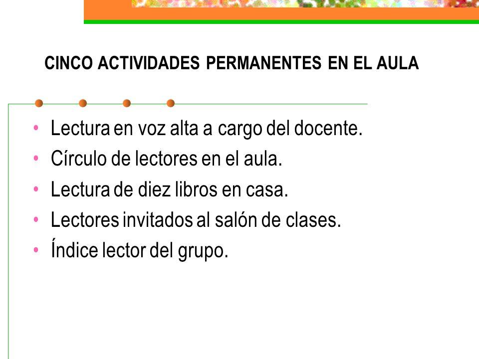 CINCO ACTIVIDADES PERMANENTES EN EL AULA Lectura en voz alta a cargo del docente.
