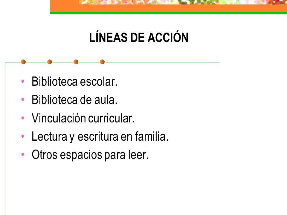 LÍNEAS DE ACCIÓN Biblioteca escolar. Biblioteca de aula. Vinculación curricular. Lectura y escritura en familia. Otros espacios para leer.