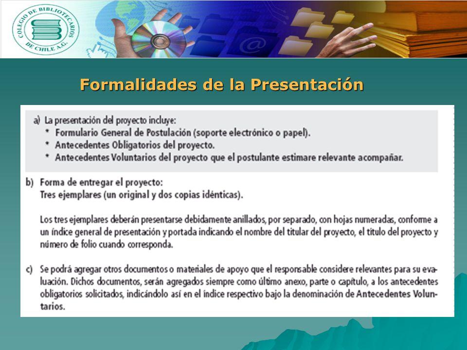 Formalidades de la Presentación