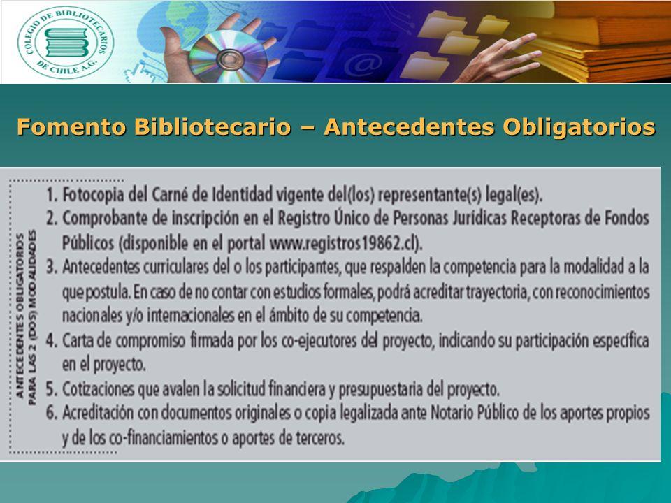 Fomento Bibliotecario – Antecedentes Obligatorios