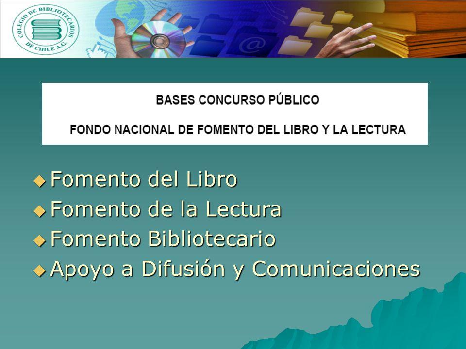 Fomento del Libro Fomento del Libro Fomento de la Lectura Fomento de la Lectura Fomento Bibliotecario Fomento Bibliotecario Apoyo a Difusión y Comunicaciones Apoyo a Difusión y Comunicaciones