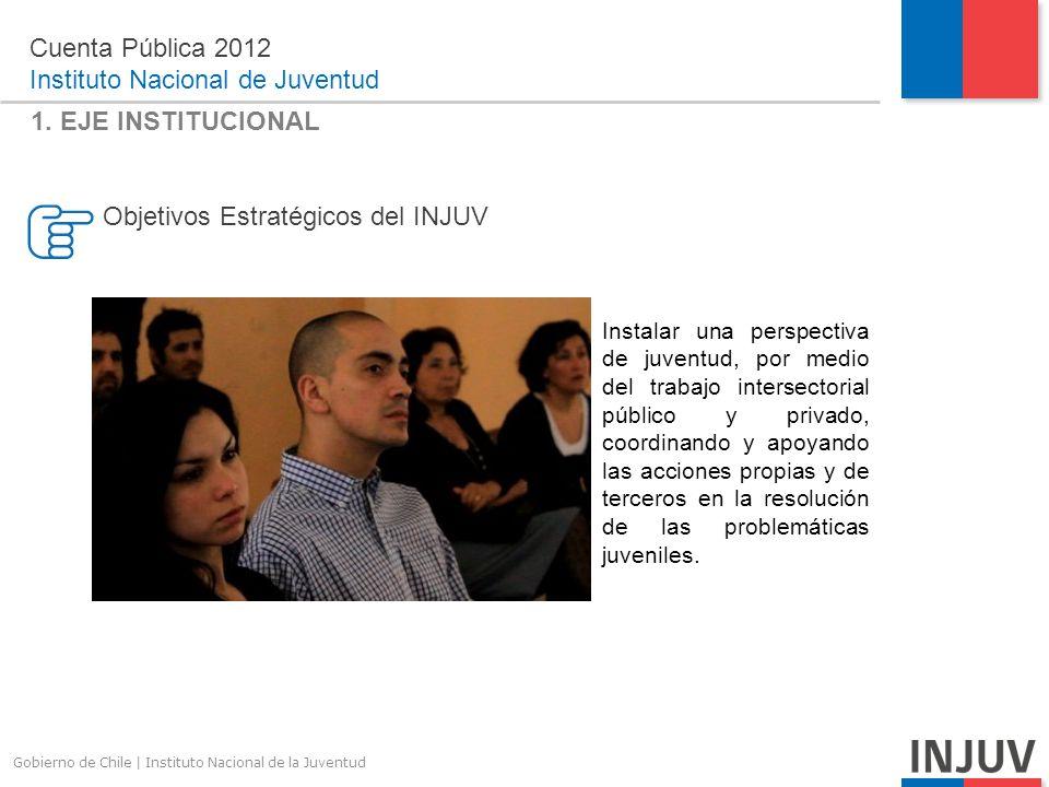 Gobierno de Chile | Instituto Nacional de la Juventud Cuenta Pública 2012 Instituto Nacional de Juventud DESAFÍOS 2013 Promover al INJUV como referente en materias de juventud fortaleciendo la oferta programática en la región.