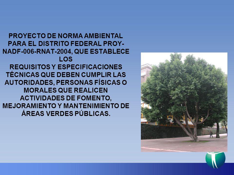 PROYECTO DE NORMA AMBIENTAL PARA EL DISTRITO FEDERAL PROY- NADF-006-RNAT-2004, QUE ESTABLECE LOS REQUISITOS Y ESPECIFICACIONES TÉCNICAS QUE DEBEN CUMPLIR LAS AUTORIDADES, PERSONAS FÍSICAS O MORALES QUE REALICEN ACTIVIDADES DE FOMENTO, MEJORAMIENTO Y MANTENIMIENTO DE ÁREAS VERDES PÚBLICAS.
