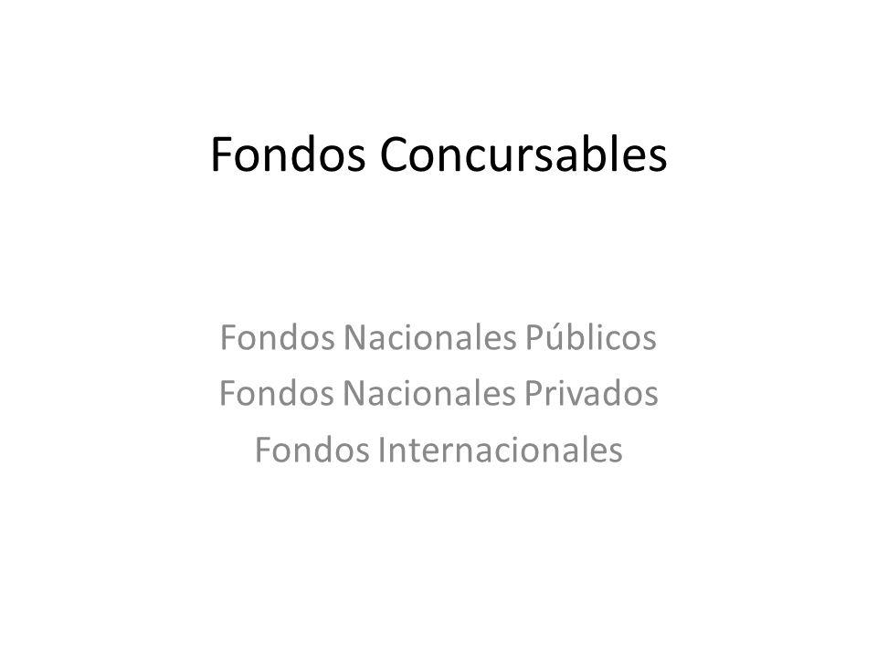 Fondos Concursables Fondos Nacionales Públicos Fondos Nacionales Privados Fondos Internacionales