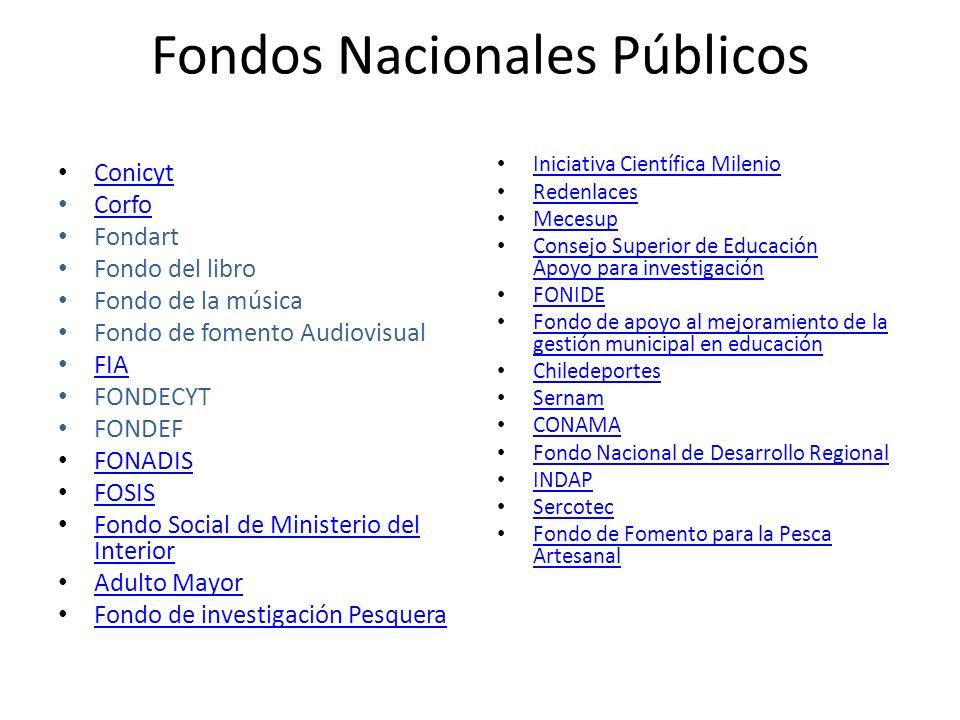 Fondos Nacionales Públicos Conicyt Corfo Fondart Fondo del libro Fondo de la música Fondo de fomento Audiovisual FIA FONDECYT FONDEF FONADIS FOSIS Fon