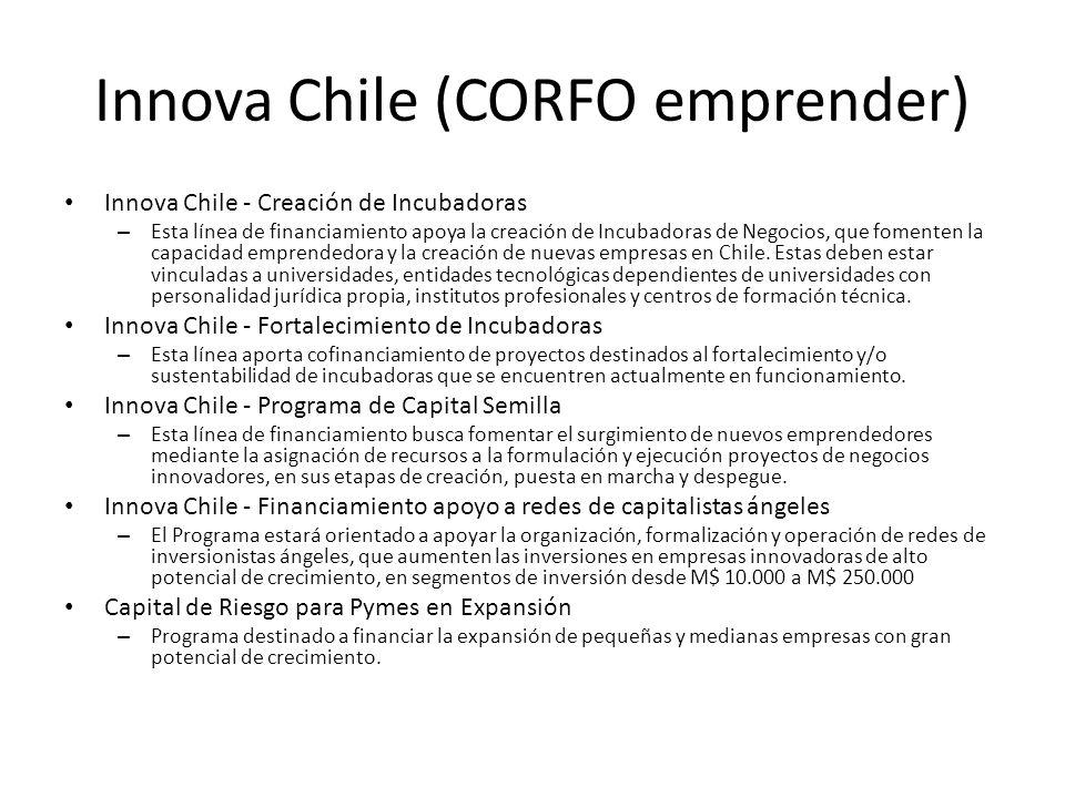 Innova Chile (CORFO emprender) Innova Chile - Creación de Incubadoras – Esta línea de financiamiento apoya la creación de Incubadoras de Negocios, que