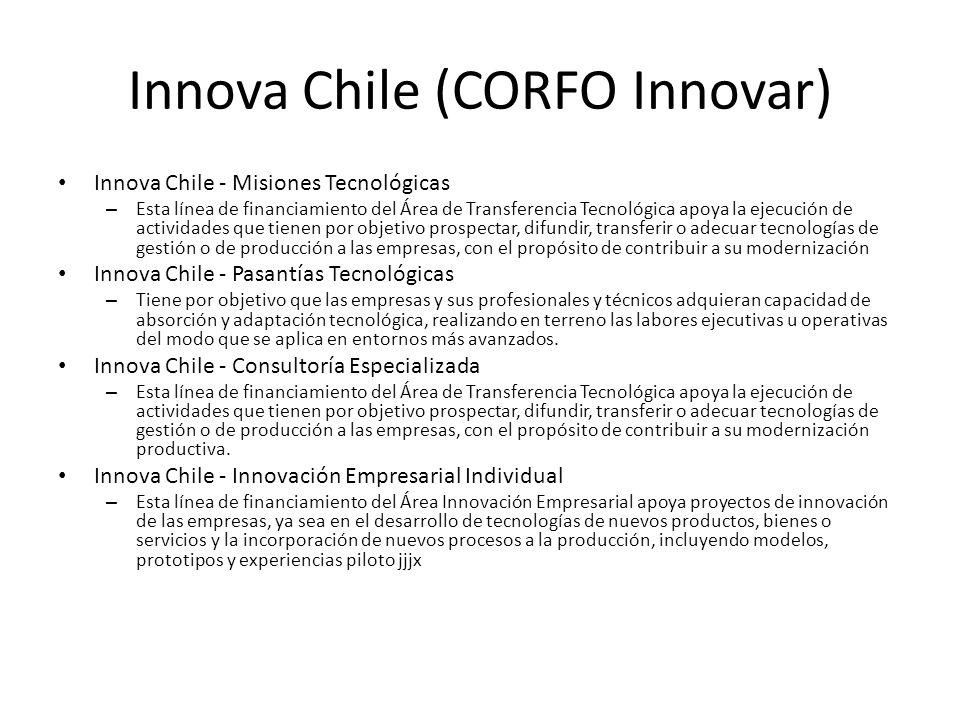 Innova Chile (CORFO Innovar) Innova Chile - Misiones Tecnológicas – Esta línea de financiamiento del Área de Transferencia Tecnológica apoya la ejecuc