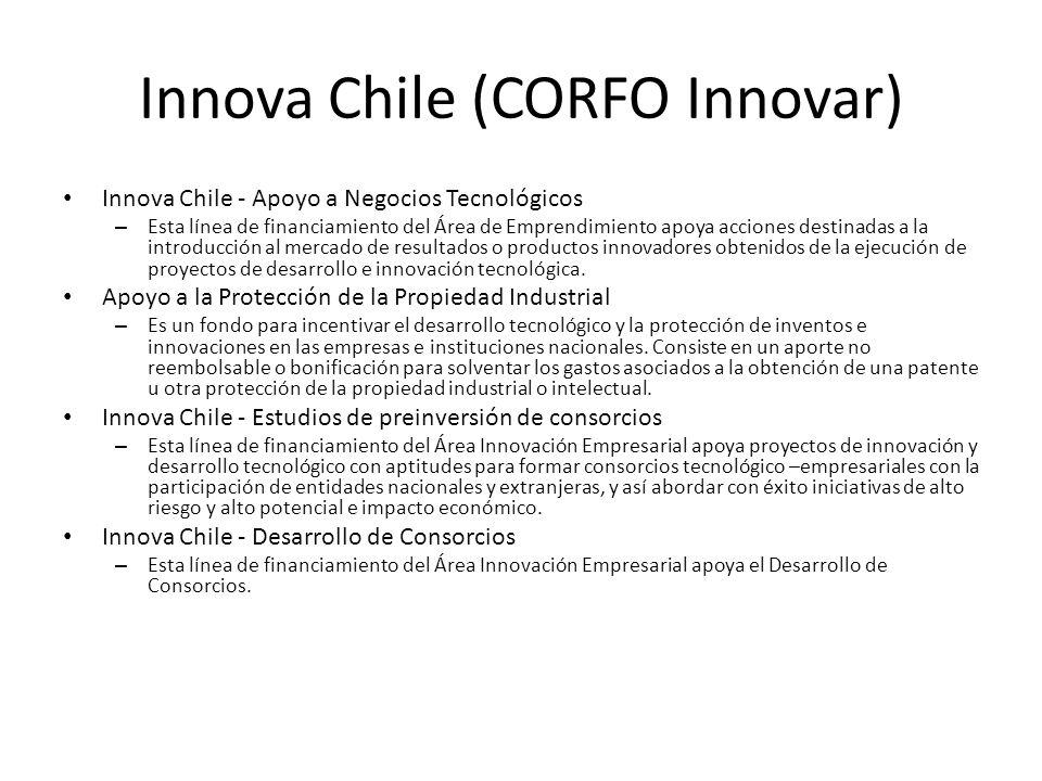 Innova Chile (CORFO Innovar) Innova Chile - Apoyo a Negocios Tecnológicos – Esta línea de financiamiento del Área de Emprendimiento apoya acciones des