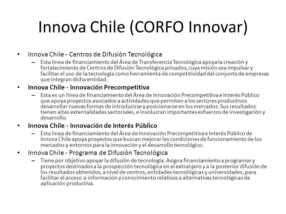 Innova Chile (CORFO Innovar) Innova Chile - Centros de Difusión Tecnológica – Esta línea de financiamiento del Área de Transferencia Tecnológica apoya