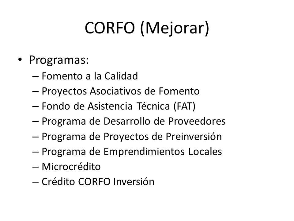 CORFO (Mejorar) Programas: – Fomento a la Calidad – Proyectos Asociativos de Fomento – Fondo de Asistencia Técnica (FAT) – Programa de Desarrollo de P